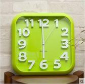 siton時尚創意靜音掛鐘現代簡約時鐘個性數字鐘錶藝術客廳石英鐘(掛鐘方形綠色)
