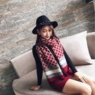 經典格紋雙面雙色仿羊絨保暖 圍巾 披肩 紅色