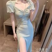 2020夏季新款氣質修身一字領開叉連身裙中長款復古裙子女裝潮『小淇嚴選』
