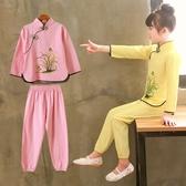 名族風童裝 漢服童裝兒童唐裝套裝女童春秋中國風寶寶復古裝小孩民族改良服裝