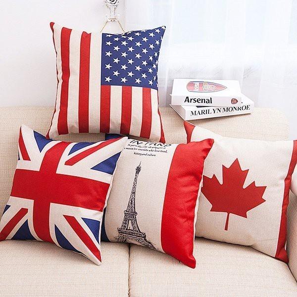 【BlueCat】世足賽 國旗風 歐美紅藍國旗系列棉麻抱枕套 枕頭套