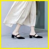 全館83折 春夏穆勒鞋女鞋復古一字帶氣質顯瘦優雅歐美時尚粗跟高跟鞋涼拖鞋