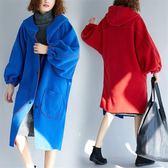 兩面穿連帽毛呢外套潮秋冬新款大尺碼女裝寬鬆開叉長袖呢子大衣胖mm