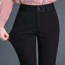 西裝長褲 韓國站 上班西褲女直筒工作褲正裝褲職業女士西裝褲黑色小腳褲OL 快速出貨