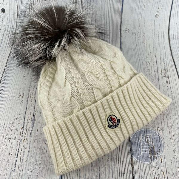 BRAND楓月 MONCLER 灰色毛球 白色 毛線編織 針織 毛帽 配件 保暖 冬季配件