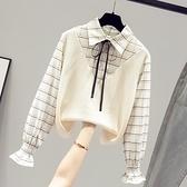 長袖襯衫秋裝2021年新款設計感小眾女士襯衫假兩件襯衣長袖百搭外穿上衣服  伊蘿