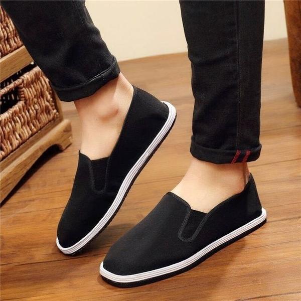 懶人鞋 新款老北京布鞋女夏秋季休閒黑布鞋低幫套腳防滑耐磨女 - 古梵希