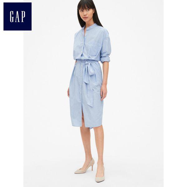 Gap女裝 長袖腰部系帶襯衫領洋裝 418582-淺藍