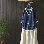 五分袖T恤-蕾絲花邊點點印花女打底衫73sj57【巴黎精品】