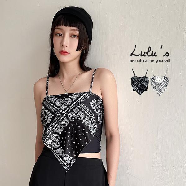 LULUS【A01210388】Y佩斯利紋細肩帶上衣2色