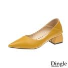 Dingle丁果ღ 時尚素色基本款尖頭粗跟高跟鞋(四色34-40)