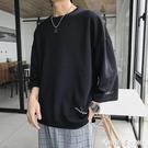 ins夏季純色五分袖T恤韓版潮流圓領短袖...