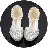 女童涼鞋 閃亮公主鞋女童小女孩高跟鞋子演出包頭兒童涼鞋女水晶鞋 米蘭shoe