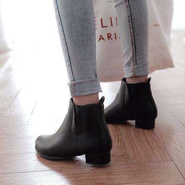 Dingle丁果大尺碼ღ歐美明星款方頭低跟切爾西靴短靴*2色