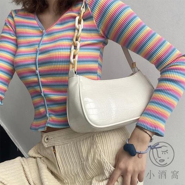 側背包法棍包包腋下包女夏百搭鏈條小方包【小酒窩服飾】