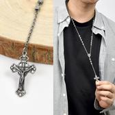 十字架項鍊 霧銀鏤空耶蘇方珠長鍊NBE18