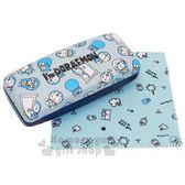 〔小禮堂〕哆啦A夢 皮質硬殼眼鏡盒《灰藍.滿版》附眼鏡布.收納盒 4548387-22183