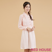 【RED HOUSE 蕾赫斯】荷葉小立領洋裝(粉色)