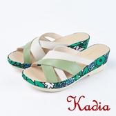 ★2018春夏新品★Kadia.極簡街頭真皮交叉拖鞋(8107-40綠)