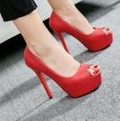 恨天高 歐美新款恨天高12厘米高跟鞋 紅色真皮女鞋 細跟防水台魚嘴高跟鞋