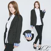 ‧GAG GLE超大尺碼‧【13031009】復古風潮藍白領修身顯瘦西裝外套
