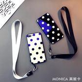 藍光玻璃波點款iphone6s plus手機殼蘋果8情侶7掛繩X個性日韓6女 莫妮卡小屋