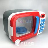 兒童仿真微波爐過家家玩具電動帶燈光可旋轉小家電做飯廚房烤箱