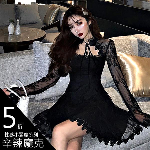 克妹Ke-Mei【AT57635】KOREA名媛晚宴歐根紗蕾絲美背收腰傘擺小洋裝