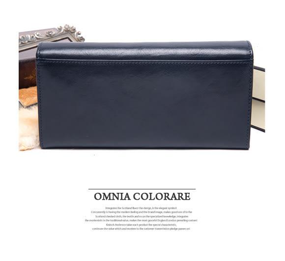 OMC - 原皮魅力系列多層多卡零錢式長夾 - 星辰藍
