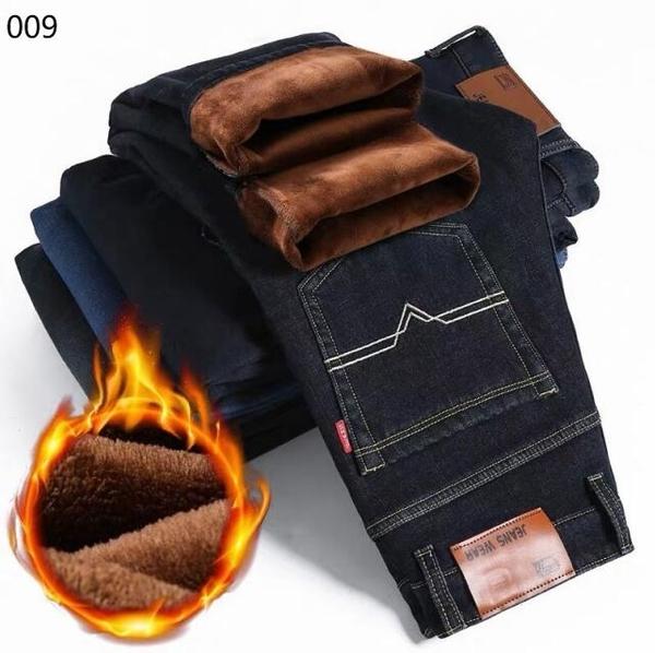 加絨牛仔褲男秋冬款男士保暖加毛長褲