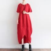 洋裝-長款寬版夏季新款舒適亞麻女連身裙3色73sm18【巴黎精品】