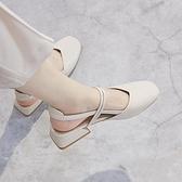 包頭涼鞋女夏中跟2021新款韓版百搭學生仙女風復古粗跟一字帶單鞋 韓國時尚週