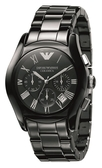 EMPORIO ARMANI亞曼尼陶瓷計時碼錶-AR1400-黑陶
