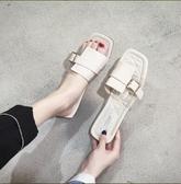 拖鞋女夏外穿新款韓版皮帶扣平底一字拖