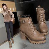丁果、大尺碼女鞋34-44►歐美明星款俏麗扣帶環厚底高跟馬丁靴短靴*3色