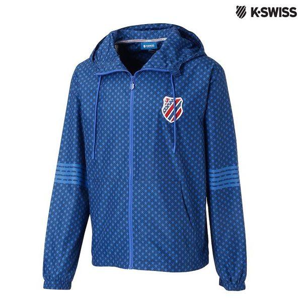 K-Swiss Star Print Windbreaker風衣外套-男-單寧藍