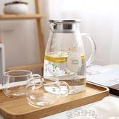 冷水壺家用玻璃涼水壺耐熱高溫晾白開水杯冷水壺套裝茶壺 雲朵走走