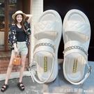 涼鞋 厚底涼鞋女網紅爆款學生個性平底鞋2021年新款夏季時尚錬子羅馬鞋 618購物節