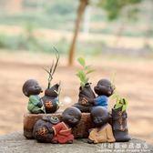 茶寵精品可愛紫砂小和尚茶寵可養擺件 創意水培插花茶具裝飾迷你花器 科炫數位