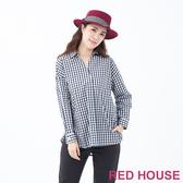 【RED HOUSE 蕾赫斯】格紋前短後長襯衫(藍色)