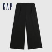 Gap女裝 簡約彈力中腰梭織闊腿休閒褲 623103-黑色