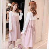 漂亮小媽咪 假兩件 洋裝 【D3357】韓系 假二件 長袖 背心裙 連衣裙 孕婦裝 背心洋裝
