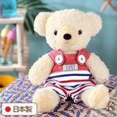 Hamee 日本製 手工 紅色海軍 吊帶褲 絨毛娃娃 玩偶禮物 泰迪熊 (奶油色/M) 640-197900