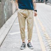 緊亞麻褲男士寬鬆薄款小腳褲