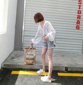 防曬衣女長袖夏季雪紡開襟空調衫bf寬鬆上衣短款白色連帽超薄外套  無糖工作室