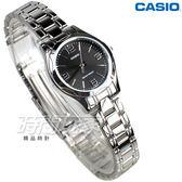 CASIO卡西歐 LTP-1275D-1A2 優雅小圓錶 不銹鋼帶 腕錶 黑色 正韓 女錶 LTP-1275D-1A2DF