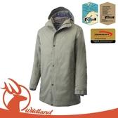 【Wildland 荒野 男 中長版PR棉輕量防水外套《灰綠》】OA62902/連帽外套/風衣/夾克/保暖外套