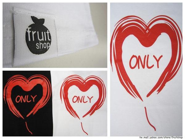 愛心ONLY圓領上 衣‧白色‧棉T-【Fruit Shop】