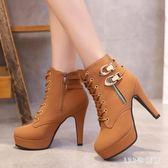 新款馬丁靴女靴子秋冬季韓版加絨百搭短靴細跟高跟靴女鞋 AB6530 【123休閒館】
