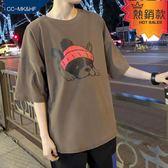 港風短袖T恤男正韓潮學生寬鬆bf男士ulzzang原宿風ins中袖五分袖 『快速出貨』